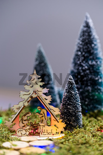 Nativity scene and trees in the presepio