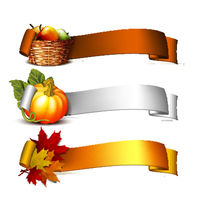ribbon with Orange pumpkins, Autumnal leaves and basket full ripe apples