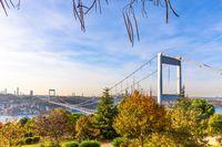 Autumn park Otagtepe and the Second Bosphorus Bridge, Istanbul