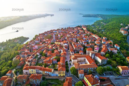 Town of Omisalj on Krk island aerial view