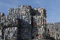 Plastic and paper bales at the waste processing plant. Separate garbage collection
