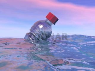 Pollution of plastic bottle in the ocean - 3D render