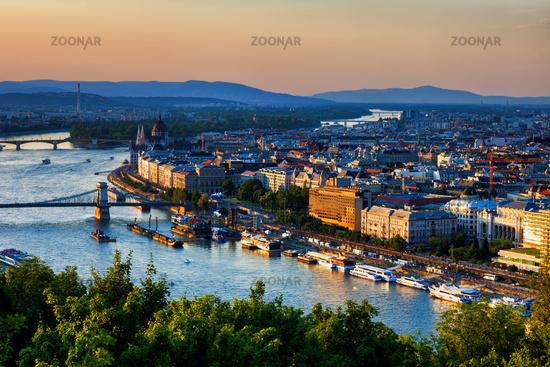 City Of Budapest Sunset Cityscape