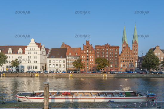 Historical cityscape on the river Untertrave in Luebeck