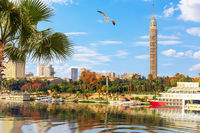 Cairo downtown, view on the Nile and the Tower, Egypt