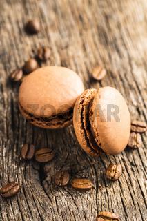 Sweet macarons with coffee flavor.
