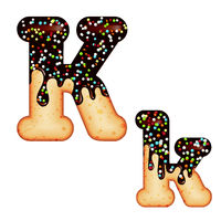 Tempting typography. Font design. 3D donut letter K glazed with chocolate cream and candy