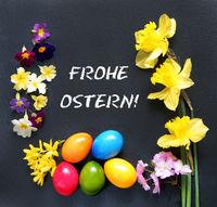 Ostern, Frohe Ostern! Osterkarte mit Tulpen und Narzissen, Ostereier, Textraum, copy space