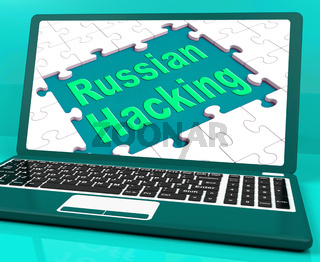 Russian Hacking Laptop Computer Shows Attack 3d Illustration