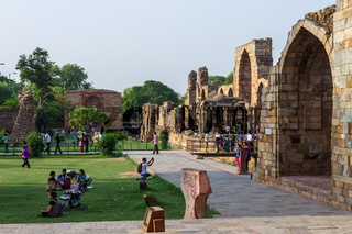 Inside the Qutb Minar Complex with antic ruins and inner square. UNESCO World Heritage in Mehrauli, Delhi, India, Asia.