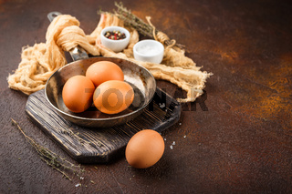 Fresh uncooked egg on a pan, stone or concrete background.