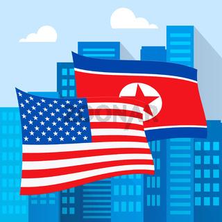 North Korea United States Talks Singapore 3d Illustration
