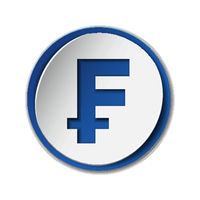 Swiss Franc currency symbol on round sticker with blue backdrop