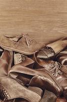 Group of the old footwear various models