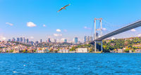 The Bosphorus Bridge and Besiktas with Ortakoy Mosque, Istanbul