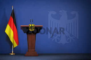 Press conference  of premier minister of Germany concept, Politics of Germany. Podium speaker tribune with Germany flags and coat arms.