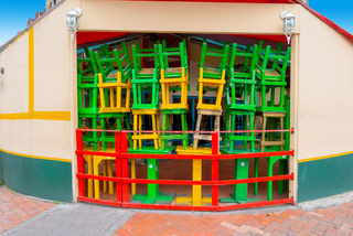 Bogota city colorful chairs and  tables in Usaquen district