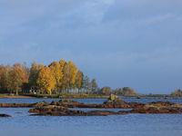 Autumn landscape at the shore of Lake Vanern.