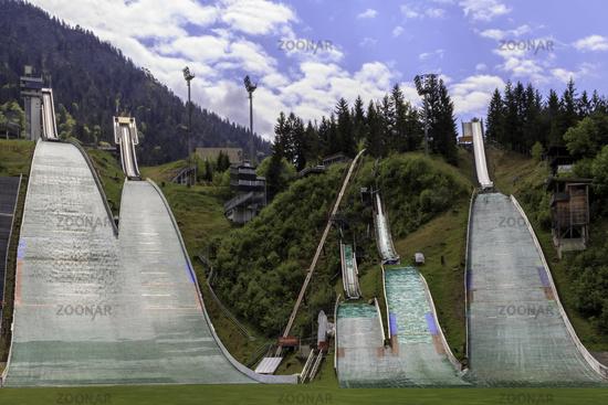 Ski jumping hills Oberstdorf, Allgäu, Germany, Europe, May
