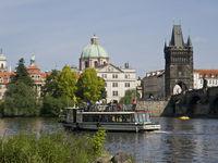 Touristic boat in Prague river Vltava