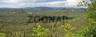 HDR Panorama of rocks in the Saxon Switzerland Reserve