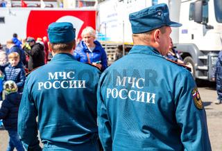 Russian emercom officers in uniform