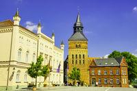 Town Hall and Church Sternberg, Mecklenburg-Western Pomerania, Germany