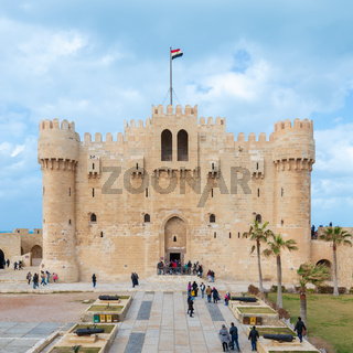 Citadel of Qaitbay, a 15th century defensive fortress located on the Mediterranean sea coast, Alexandria, Egypt, established in 1477 AD