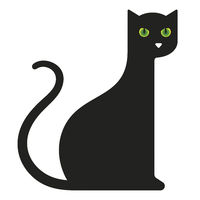 Geometric cat icon or logo in flat, simple and isolated style.