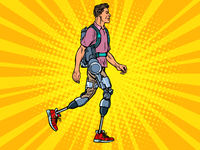 exoskeleton for the disabled. A man legless veteran walks. rehabilitation treatment recovery. science and technology