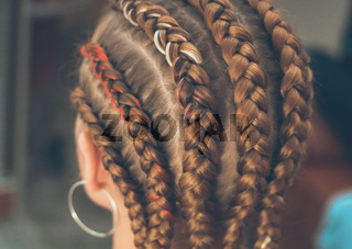 background for the site of braids, close-up girl's head braided by a master