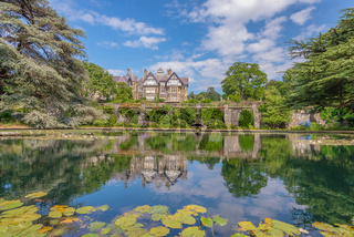 Bodnant Hall reflecting on a pond, Bodnant garden, Wales