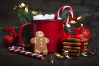 Cocoa red mug with marshmallows