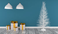 Modern room with a white Christmas tree and gift boxes