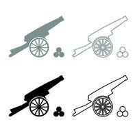Medieval cannon firing cores icon outline set grey black color