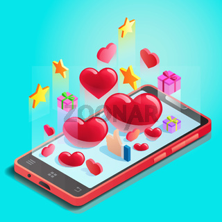 Abstraction, mobile phone with hearts, online dating, social networks