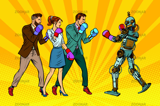 People box with a robot. Humanity and new technologies