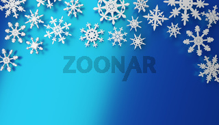 Modern Christmas background with snowflakes on blue