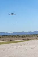 Professional drone flying over the airfield