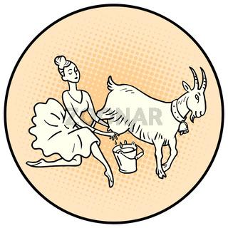 Ballerina milking a goat. Farm animals