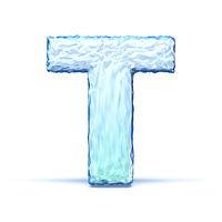 Ice crystal font letter T 3D