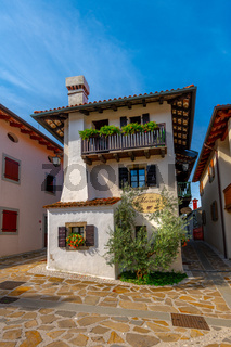 Hisa Marica on Main Square in Historic medieval town of Smartno in Goriska Brda, Slovenia with narrov streets leading into the town