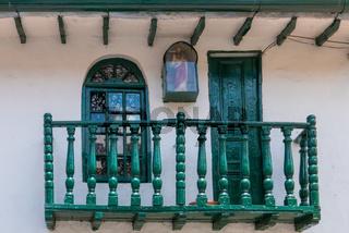 Bogota La Candelaria district ancient wooden balcony