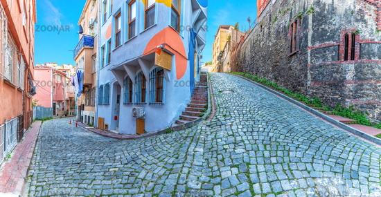Fener district of Istanbul, beautiful narrow street panorama