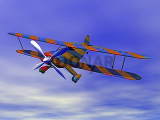buntes Propellerflugzeug am Himmel