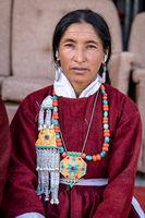 Elderly Indian woman on festival in Ladakh
