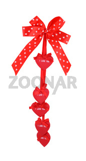 red ribbon love silk gift bow isolated