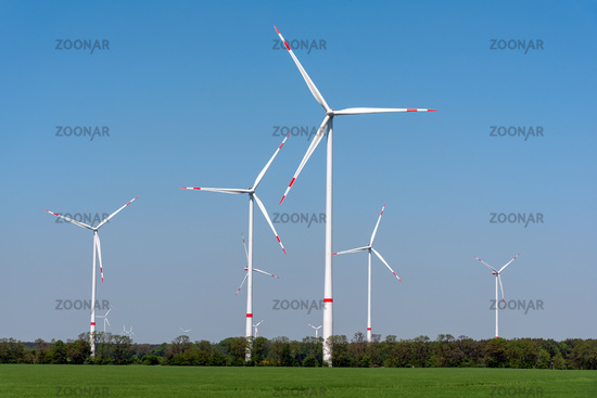 Wind turbines in an agricultural area seen in Germany