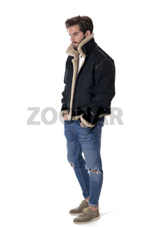 Contemporary stylish man in jacket in studio
