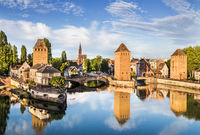 Strasbourg landscape with the old buildings and bridge Ponts Couverts